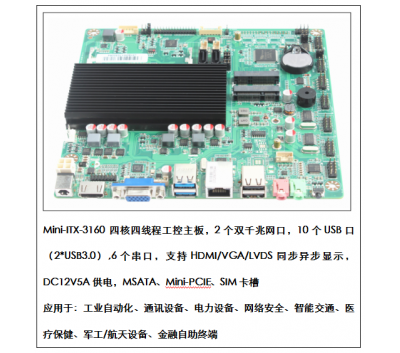 ITX四核四线程J3160工控主板双网6串口超薄一体机主板
