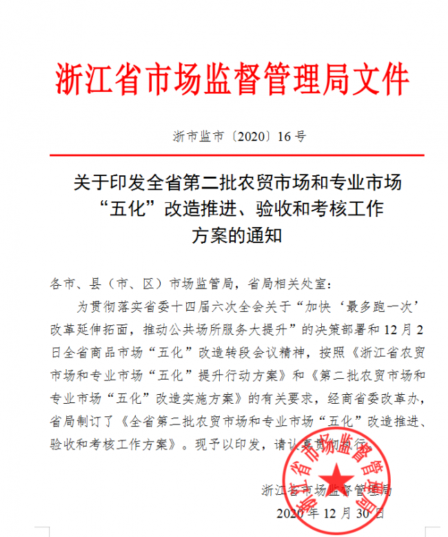"""浙江省第二批""""五型""""市场改善标准的实施 以及朱梅的积极响应"""